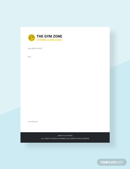 Gym letterhead Template
