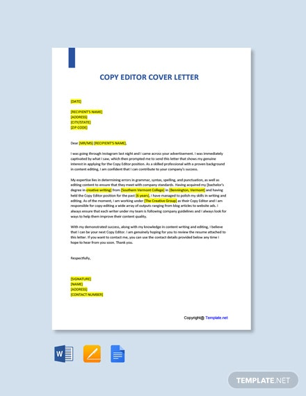 Free Copy Editor Cover Letter Template