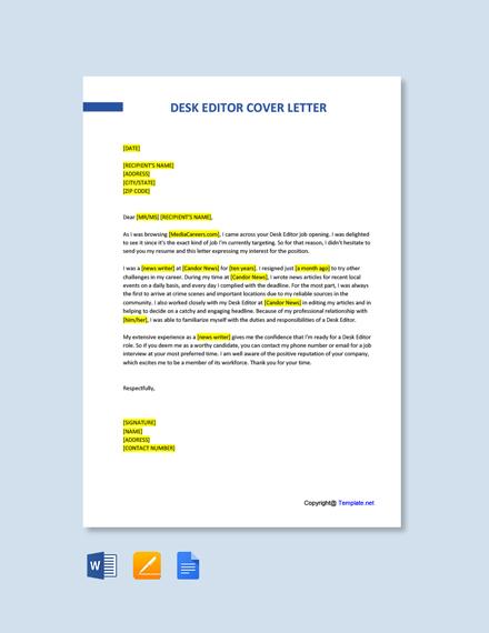 Free Desk Editor Cover Letter Template
