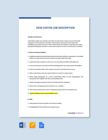 Free Desk Editor Job Description Template