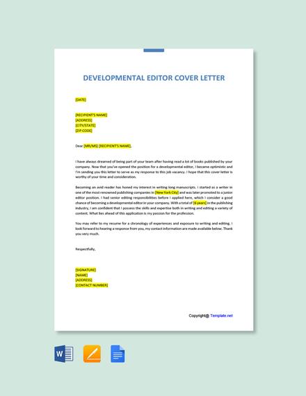 Free Developmental Editor Cover Letter Template