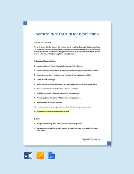 Free Earth Science Teacher Job Ad/Description Template