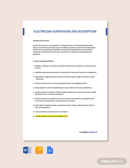 Free Electrician Supervisor Job Ad and Description Template