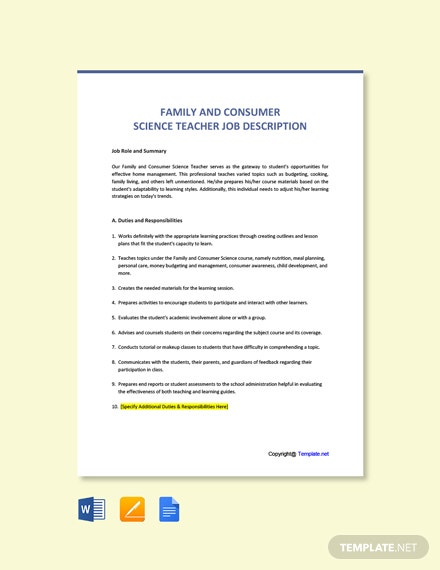 Free Family And Consumer Science Teacher Job Description Template