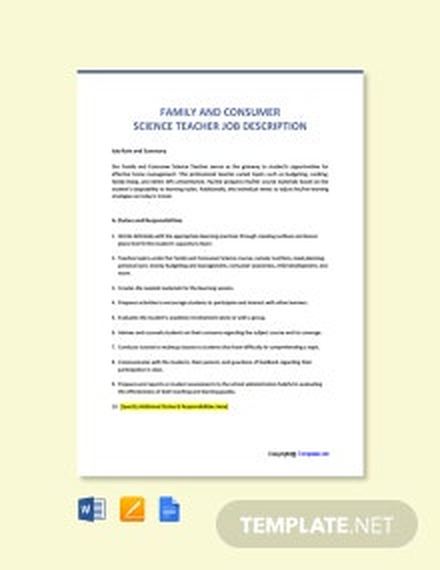 Free Family And Consumer Science Teacher Job Ad/Description Template