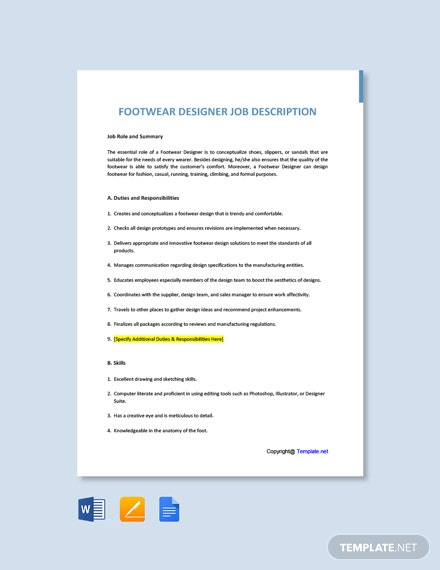 Free Footwear Designer Job Description Template