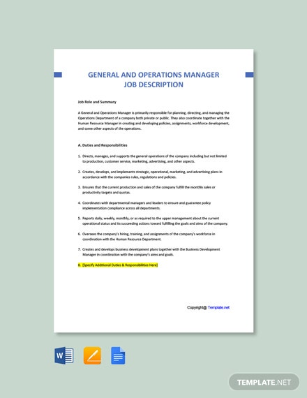 Free General and Operations Manager Job AD/Description Template