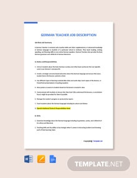 Free German Teacher Job AD/Description Template