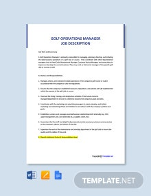 Free Golf Operations Manager Job AD/Description Template