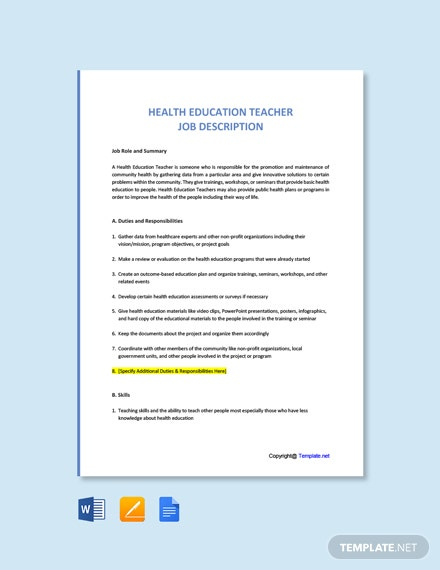 Free Health Education Teacher Job Description Template