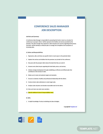 Free Conference Sales Manager Job Description Template