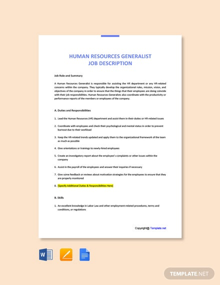 Free Human Resources Generalist Job Description Template