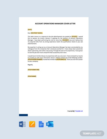 Free Account Operations Manager Cover Letter Template
