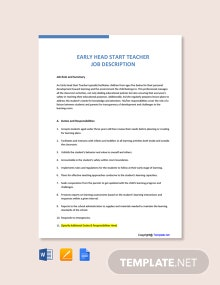 Free Early Head Start Teacher Job Ad and Description Template
