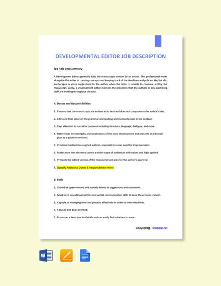 Free Developmental Editor Job Description Template