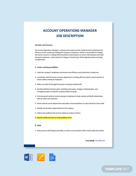 Free Account Operations Manager Job Description Template