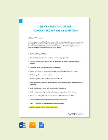 Free Elementary and Grade School Teacher Job Description Template