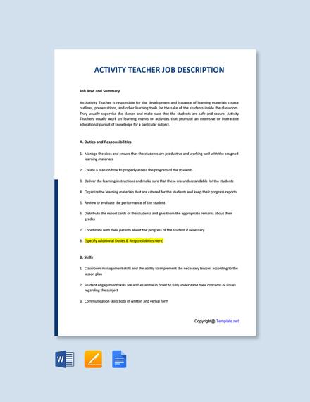 Free Activity Teacher Job AD/Description Template