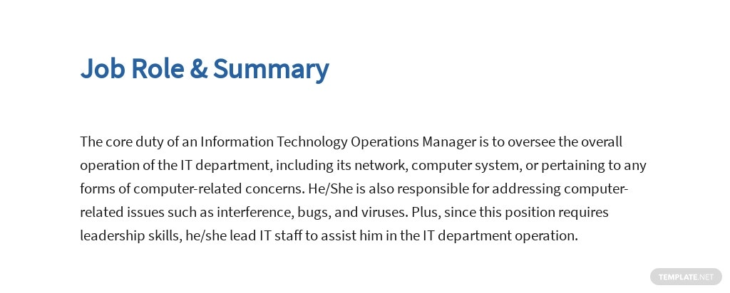Free Information Technology Operations Manager Job AD/Description Template 2.jpe