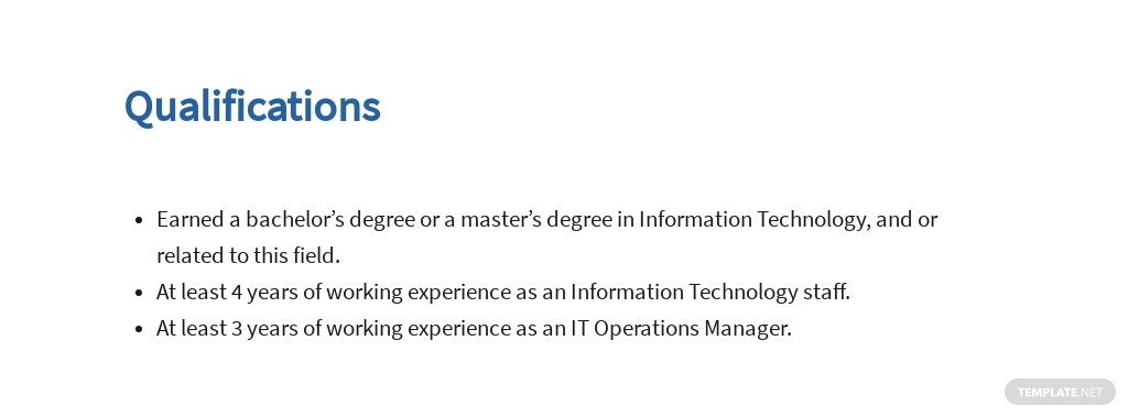 Free Information Technology Operations Manager Job AD/Description Template 5.jpe