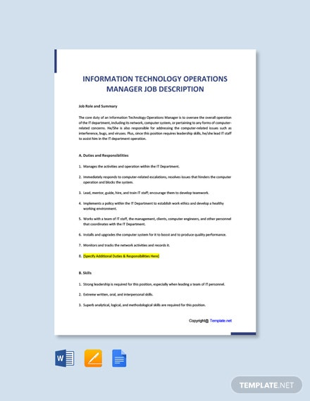 Free Information Technology Operations Manager Job AD/Description Template