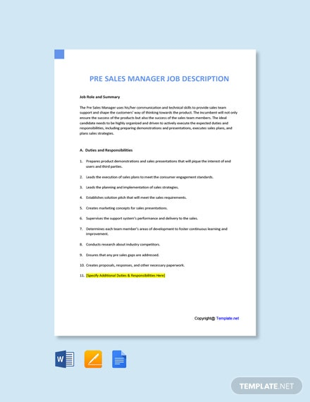 Free Pre Sales Manager Job Description Template