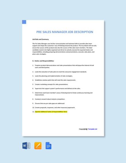 Free Pre Sales Manager Job Description Template