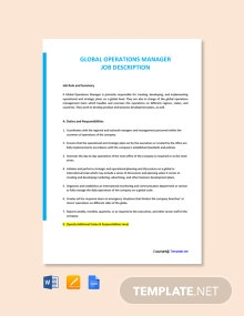 Free Global Operations Manager Job Description Template