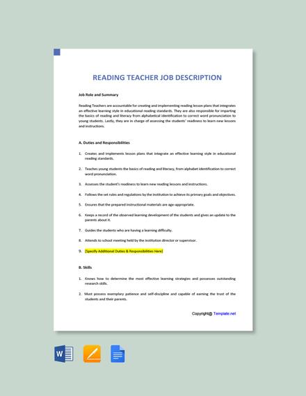 Free Reading Teacher Job Description Template