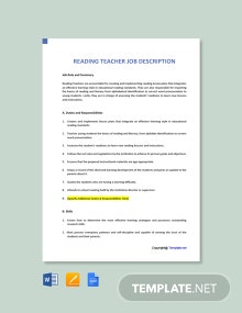 Free Reading Teacher Job Description Template