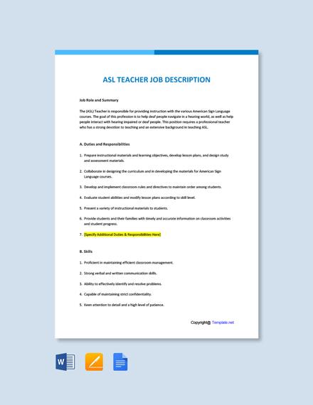 Free ASL Teacher Job Description Template