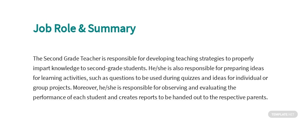 Free Second Grade Teacher Job Description Template 2.jpe