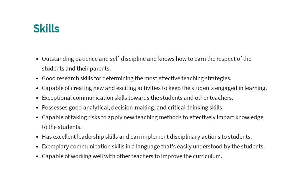 Free Second Grade Teacher Job Description Template 4.jpe