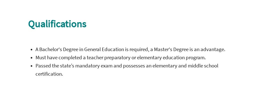 Free Second Grade Teacher Job Description Template 5.jpe