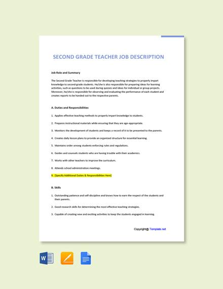 Free Second Grade Teacher Job Description Template