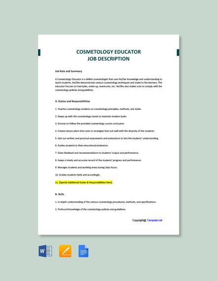 Free Cosmetology Educator Job Description Template