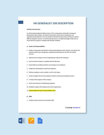 Free HR Generalist Job Description Template