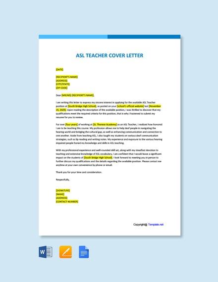 Free ASL Teacher Cover Letter Template