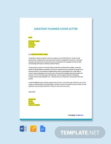 Free Assistant Planner Cover Letter Template