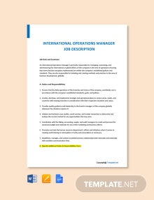 Free International Operations Manager Job Description Template