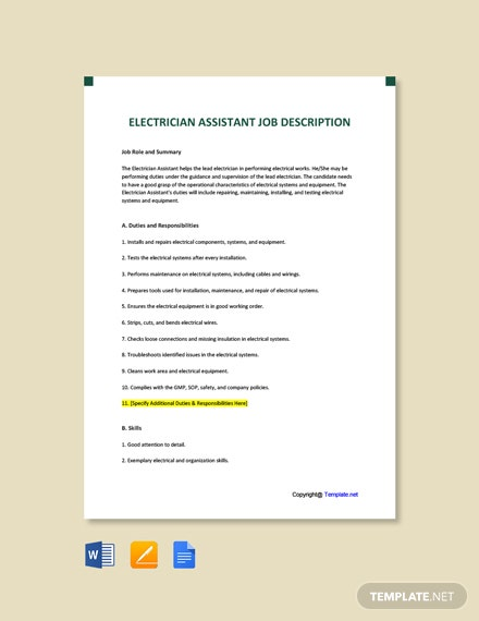 Free Electrician Assistant Job AD/Description Template