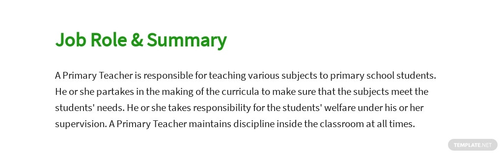 Free Primary Teacher Job AD/Description Template 2.jpe