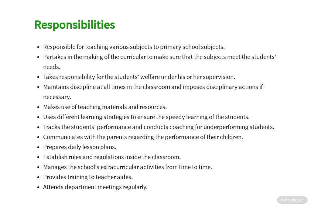 Free Primary Teacher Job AD/Description Template 3.jpe
