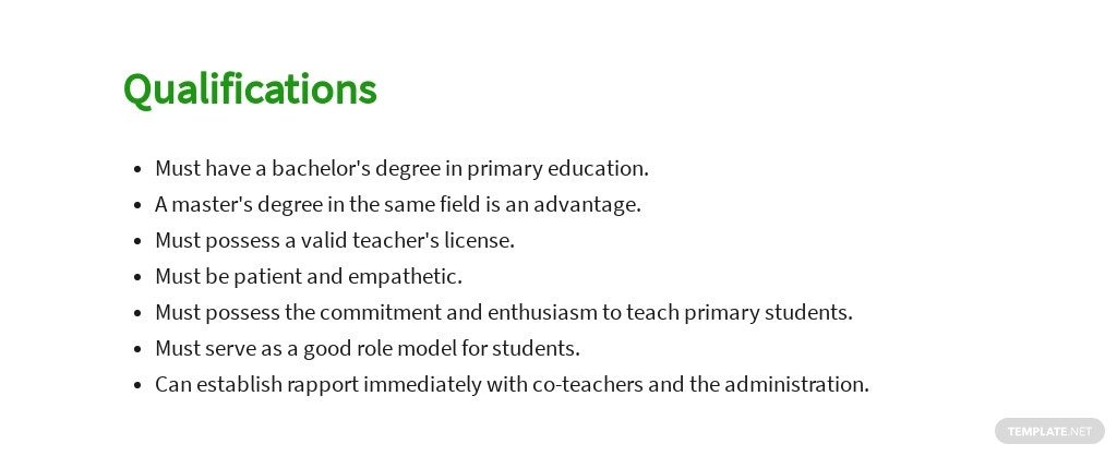 Free Primary Teacher Job AD/Description Template 5.jpe