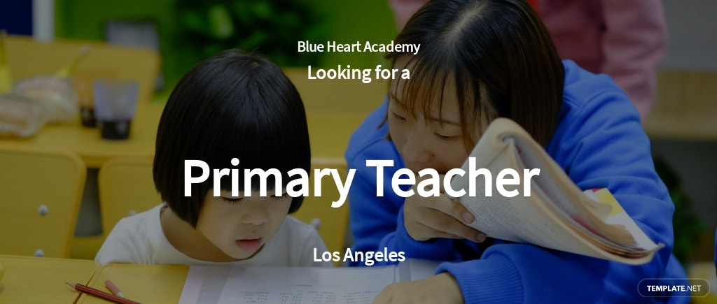 Primary Teacher Job AD/Description Template