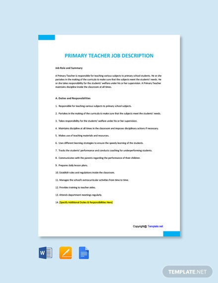 Free Primary Teacher Job Description Template