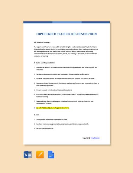 Free Experienced Teacher Job AD/Description Template