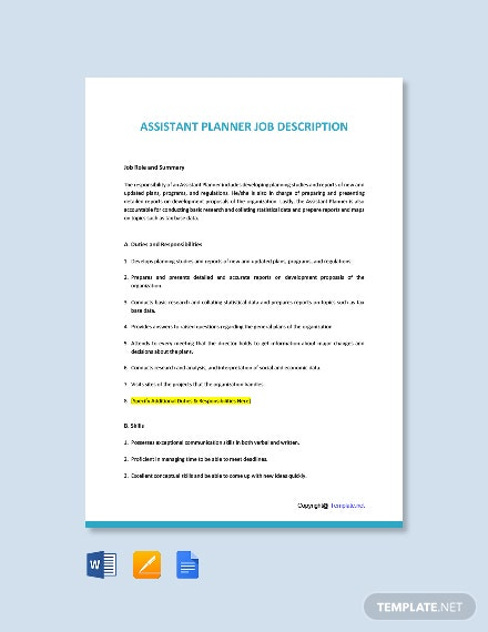 Free Assistant Planner Job Description Template