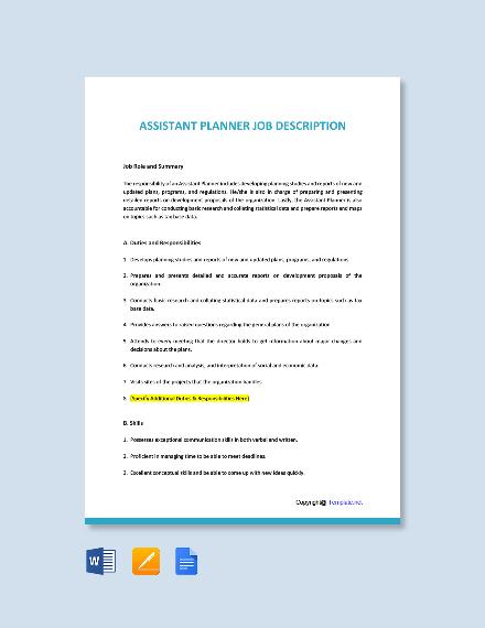 Free Assistant Planner Job Description Template