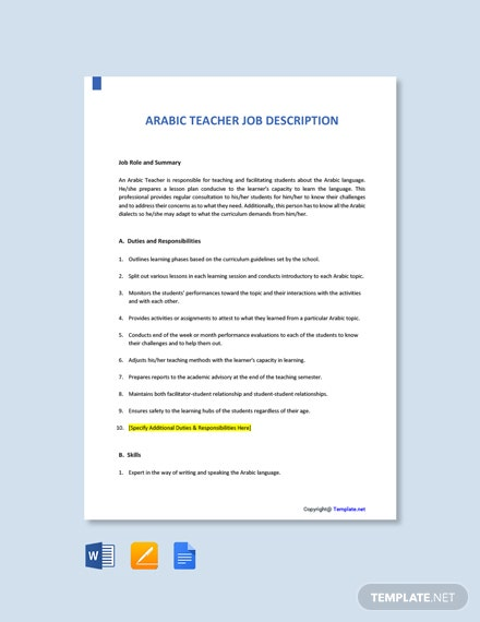 Free Arabics Teacher Job AD/Description Template